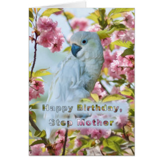 Birthday, Step Mother, White Parrot in Crab Apple Card