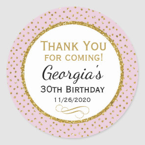 Birthday Stickers Pink Gold Thank You Favour Tags
