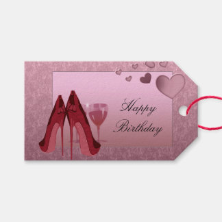 Birthday Stiletto and Wine Gift Tag