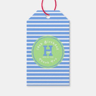 Birthday Stripes Blue?White Green Gift Tag