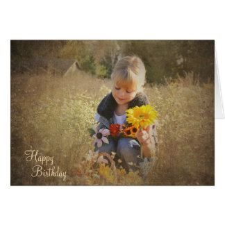 Birthday sunflower bouquet greeting card