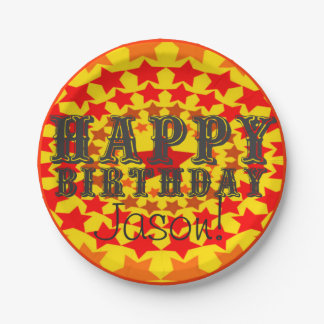 Birthday Super Star: Personalized Happy Birthday Paper Plate