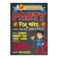 Birthday Superhero Invitations. Kid Birthday Party Card