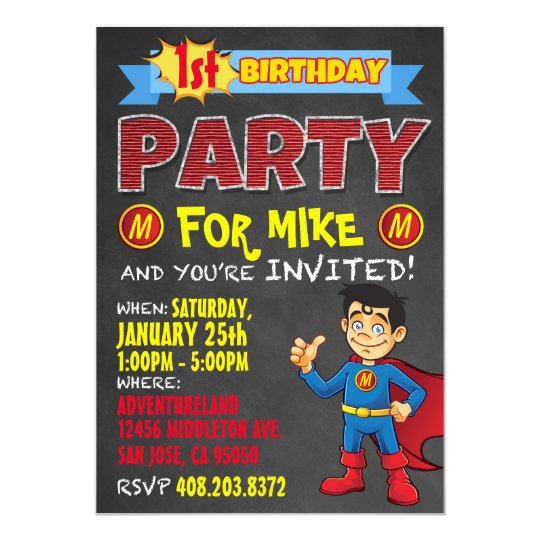 Birthday Superhero Invitations. Kid Birthday Party Card
