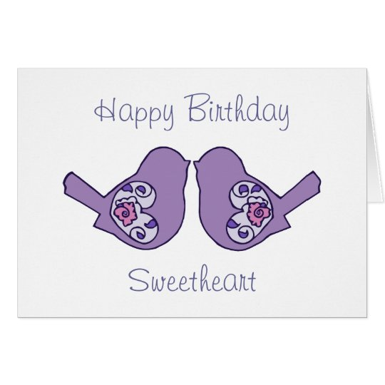 Birthday Sweetheart Love Birds Purple Romantic Card