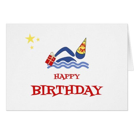 Birthday swimmer bringing gift card