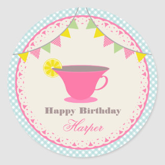 Birthday Tea Party Blue Gingham Classic Round Sticker