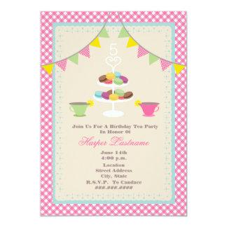 Birthday Tea Party + Macarons Invitation - Pink