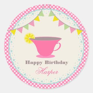 Birthday Tea Party Pink Gingham Sticker