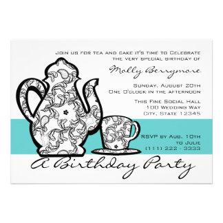Birthday Tea with Changable Color Invitations