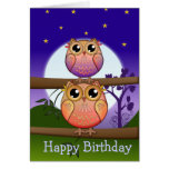 Birthday text card with Cute full Moon Owls