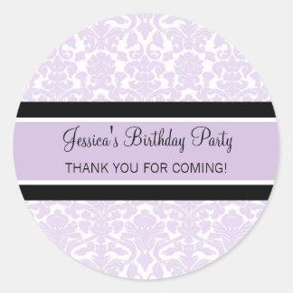 Birthday Thank You Custom Name Favor Tags Lilac Round Sticker
