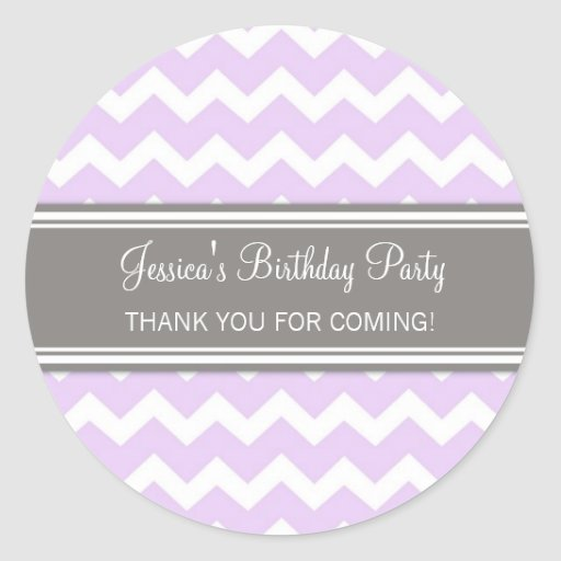 Birthday Thank You Custom Name Favor Tags Lilac Stickers