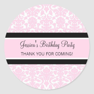 Birthday Thank You Custom Name Favor Tags Pink Sticker