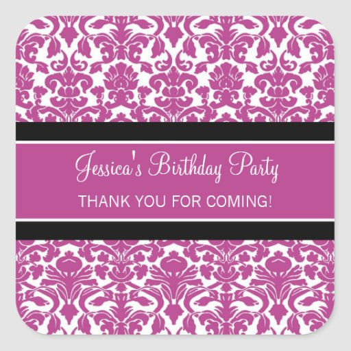 Birthday Thank You Custom Name Favor Tags Pink Square Stickers