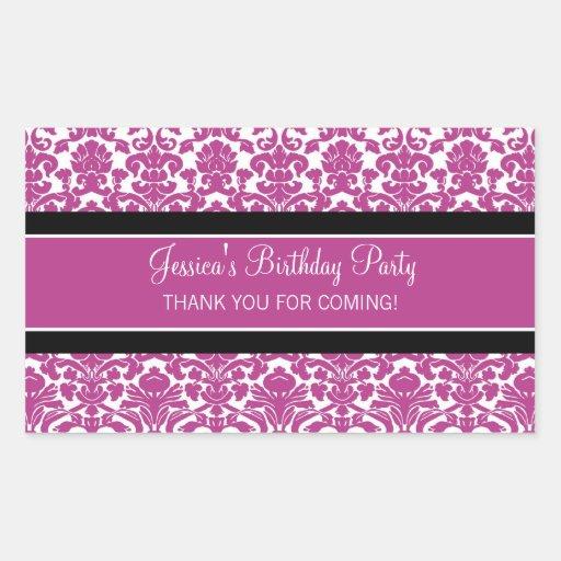Birthday Thank You Custom Name Favor Tags Pink Rectangular Sticker