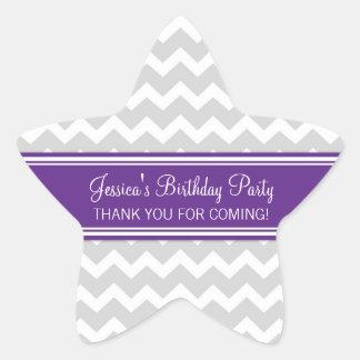 Birthday Thank You Custom Name Favor Tags Plum Star Sticker