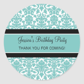 Birthday Thank You Custom Name Favor Tags Teal Round Sticker