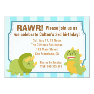 Birthday Theme - Cute Dinosaurs 4.5x6.25 Paper Invitation Card