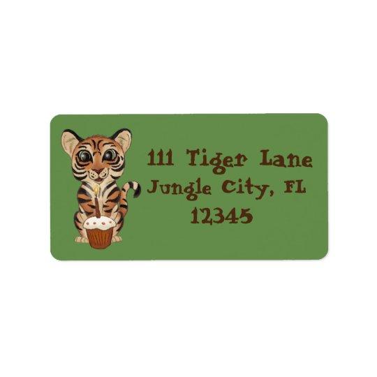 Birthday Tiger Label
