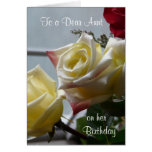 Birthday/To a Dear Aunt-Yellow Roses