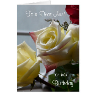 Birthday/To a Dear Aunt-Yellow Roses Greeting Card