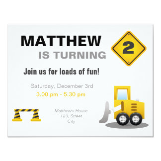 Birthday Toddler builder digger template Card