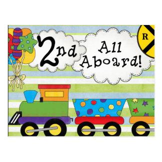 Birthday Train 2nd Birthday Party Invites Postcard