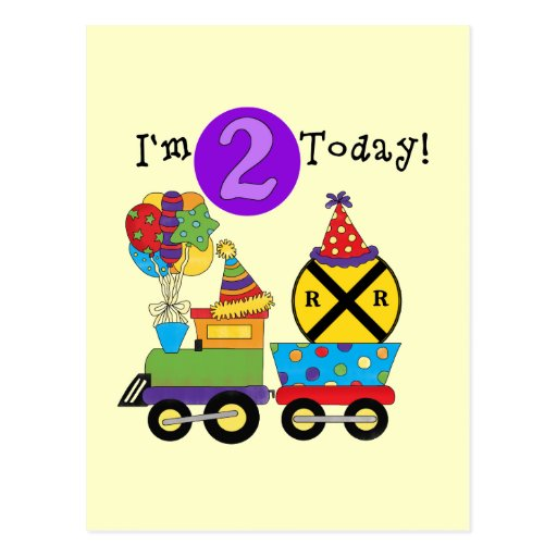 Birthday Train 2nd Birthday T-shirts and Gifts Post Card