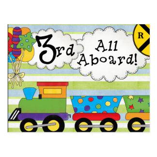 Birthday Train 3rd Birthday Invitations Postcard