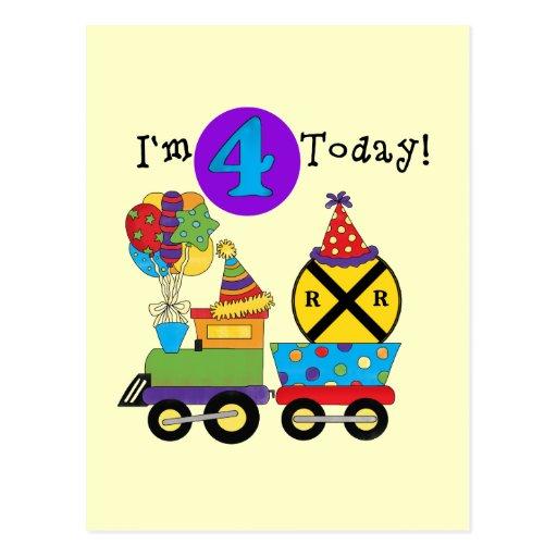 Birthday Train 4th Birthday Tshirts and Gifts Postcards