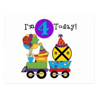 Birthday Train 4th Birthday Tshirts and Gifts Postcard