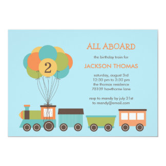 Birthday Train Birthday Party Invitation Custom Announcement