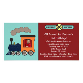 Birthday Train Photo Invitation - Red/Blue Photo Card Template