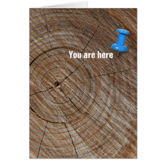 Birthday tree rings with tack greeting card