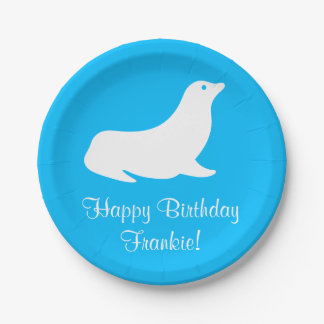 Birthday Turquoise Sea Lion 4Frankie (Name) Paper Plate