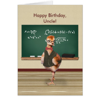 Birthday, Uncle, Funny Baby Bird, Customizable Greeting Card