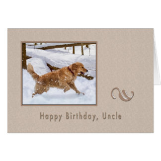 Birthday Uncle Golden Retriever Dog in Snow Greeting Card