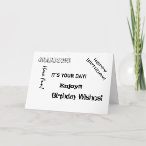 Birthday, Uncle, words for a grandson. Card