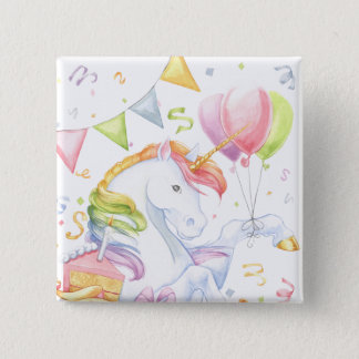Birthday Unicorn 15 Cm Square Badge