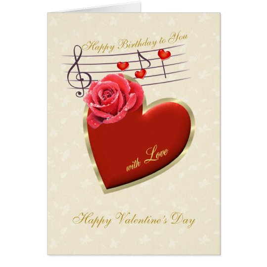 Birthday, Valentine's Day - Music, Heart and Rose