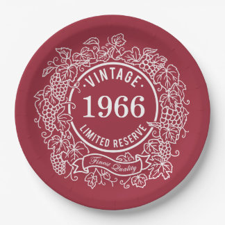 Birthday Vintage Grapevine Wine Stamp Paper Plate