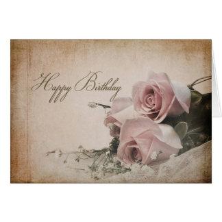 BIRTHDAY - VINTAGE ROSES - GREETING CARD