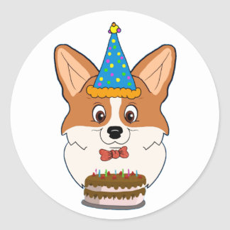 Birthday Welsh Corgi Cartoon Classic Round Sticker