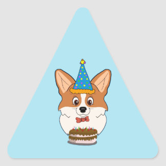 Birthday Welsh Corgi Cartoon Triangle Sticker