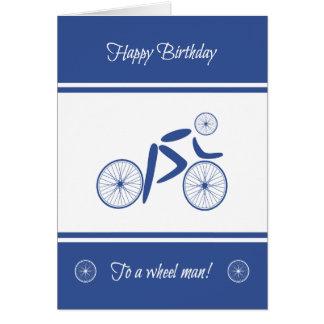 Birthday wheel man funny cyclist card