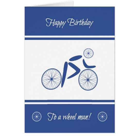 Birthday wheel man funny cyclist card