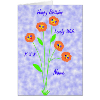 Birthday wife add name front note card