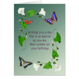 Birthday Wishes Butterflies and Morning Glory Card
