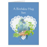 Birthday Wishes for Son from Mother Parrot Bird Greeting Card